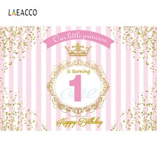 Laeacco Happy 1st Birthday Our little Princess Golden Border Scene Photography Background Photographic Backdrop For Photo Studio(China)