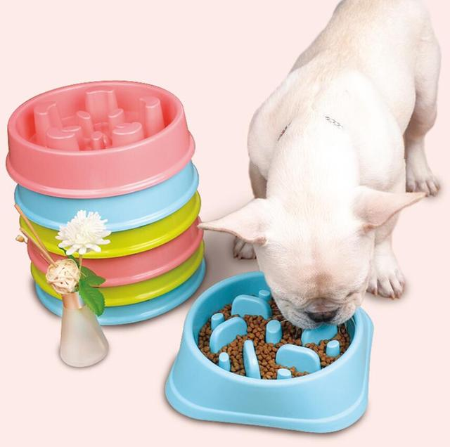 Petalk Pet Bowl Dog Slow Feeder Anti Choke Anti-Gulping Puppy Feeding Feed Food Bowl Flower Shape Healthy Food Dish