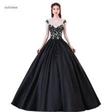 22eec9bb2 Ruthshen negro y blanco satén vestidos de quinceañera elegante vestidos de  baile de Debutante 15 adolescentes fiesta vestido oca.