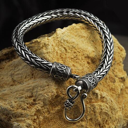 6MM Handcrafted 100% 925 Silver Longevity Bracelet Good Luck Bracelet Thai Silver Chain Bracelet Vintage Silver Jewelry Gift sound intone 3 5mm in ear style hi fi handsfree headphone w microphone black cable 110cm