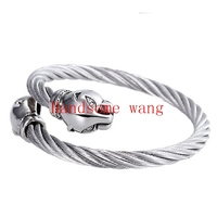 Superb Technology New Cool Women Men S CZ 316L Stainless Steel Silver Wire Cable Bangle Bracelet