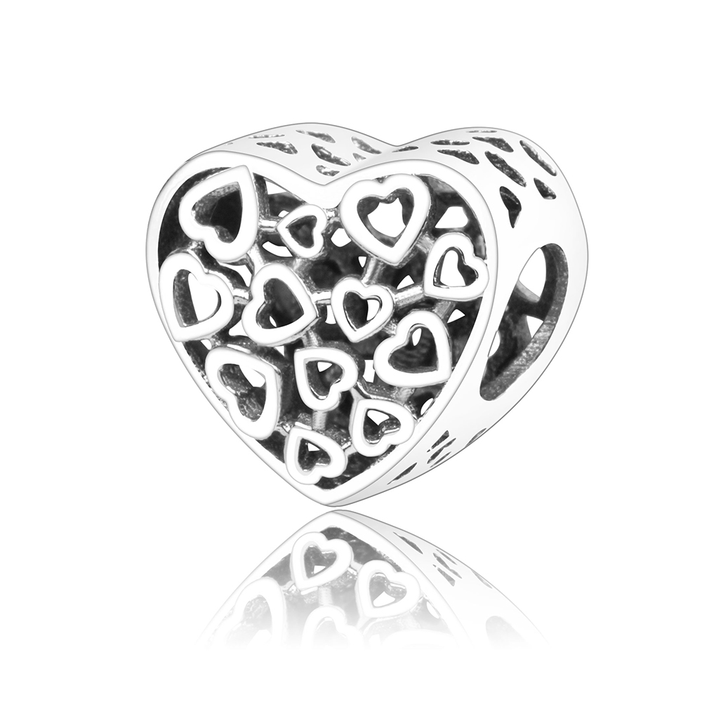 100% Real 925 Sterling Silver Love Heart Charm Beads Fit Original Pandora Charm Bracelet Authentic Jewelry DIY Gift Berloque