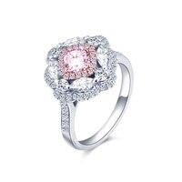 Luxury 18k Gold Pink Diamond Ring Pink Diamond Eye Diamond Princess Square Pillow Luxury Group Diamond