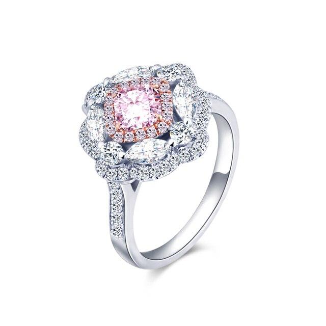 Luxury 18k Gold Pink Diamond Ring Pink Diamond Eye Diamond Princess