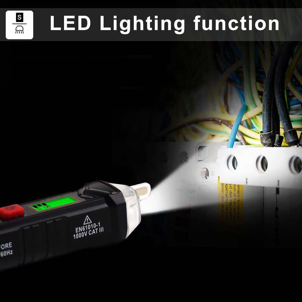 Newacalox AC 12-1000V Không Tiếp Xúc Bút Thử Điện Áp Có Thể Điều Chỉnh Độ Nhạy Đèn LED Loại Bút Kỹ Thuật Số Điện Áp đầu Báo