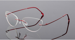 Image 4 - Cat eye titanium rimless Reading Glasses ultra light women alloy Rimless reading eyeglasses Presbyopic glasses +0.50 to +6.00
