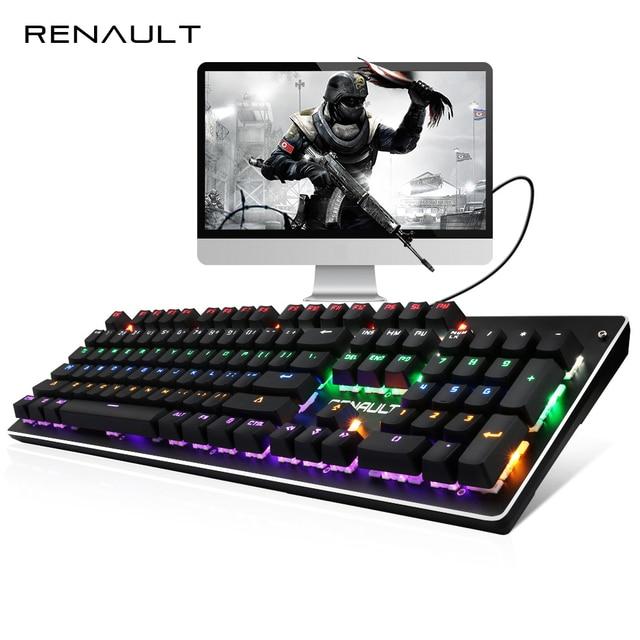 US $41 65 |RENAULT 104 / 87 Keys Mechanical Keyboard Blue Switch Rainbow  Backlit Gaming Keyboard for PC Game LED Backlight Teclado Gamer-in  Keyboards