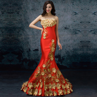 Appliques Embroidery Mermaid 2018 Women's elegant long gown party proms for gratuating date ceremony gala evenings dresses up 54