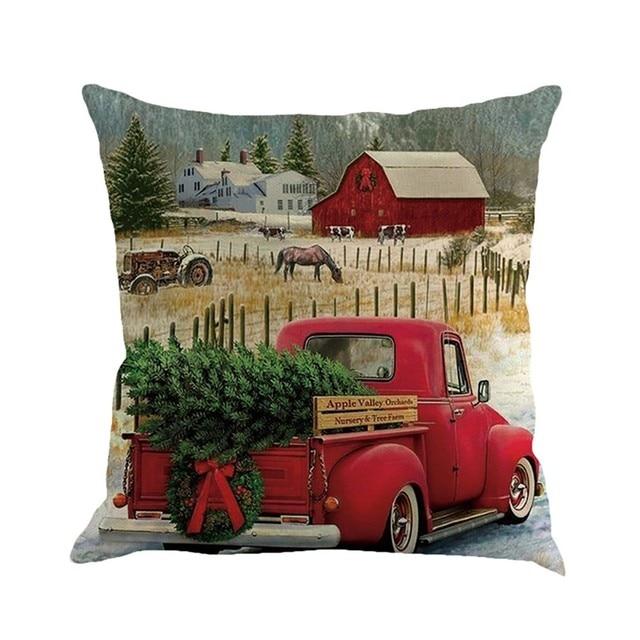 Auto d'epoca Di Natale Albero di Cotone di Tela Copertura del Cuscino divano di