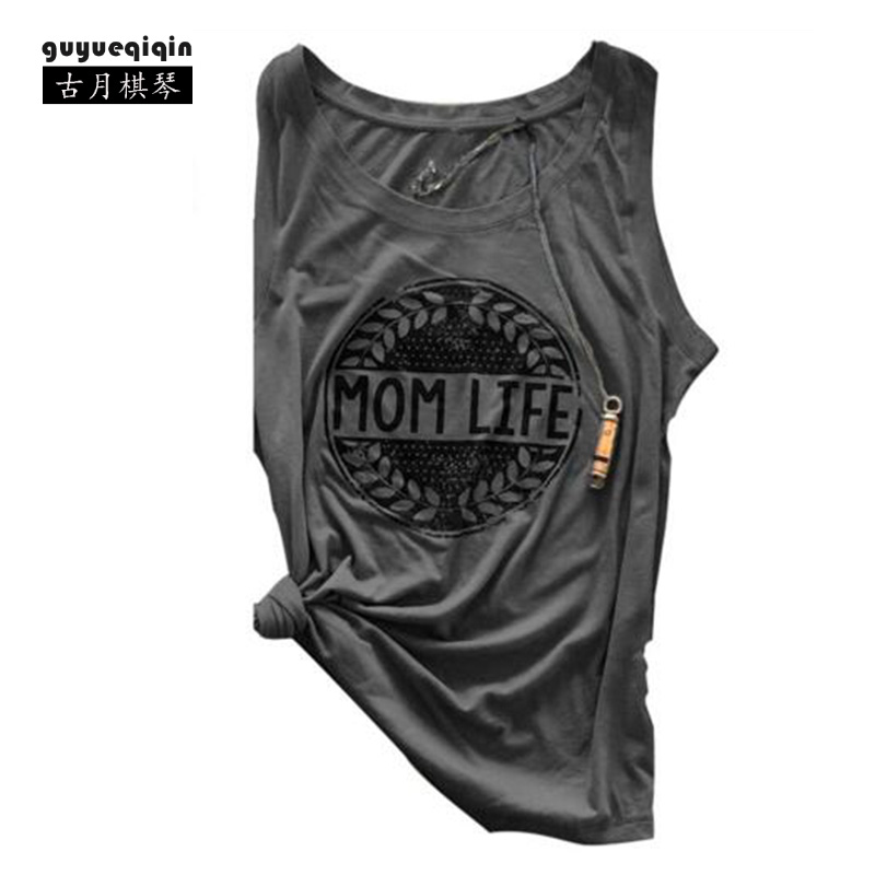Fashion Summer Women T-shirt Europe and America Mom Life Letter Printing T-shirts Sleeveless Famale Tops Tees Size 2XL 6 Colors