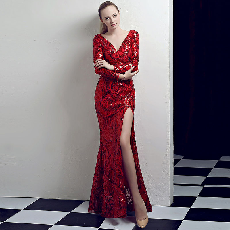 Corzzet rouge pailleté à manches longues sirène élégant Club formel trompette Sexy fente robes de soirée