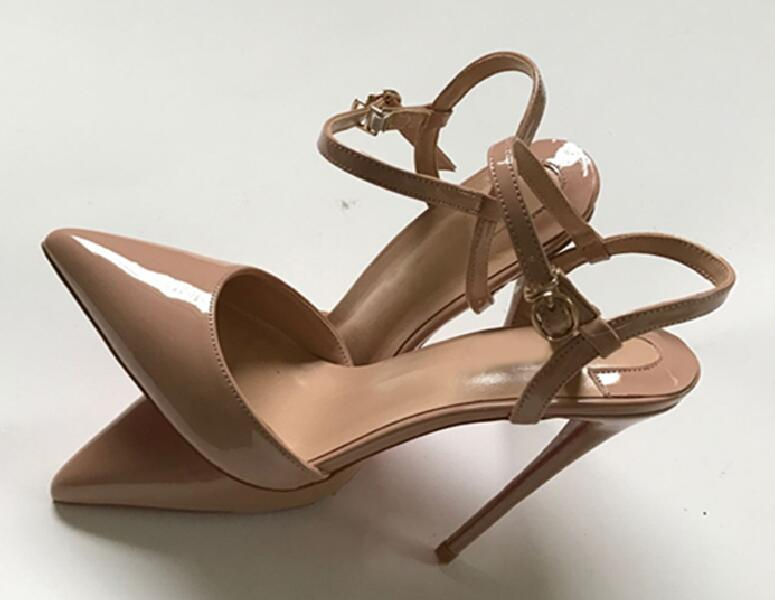 Mikishyda New Nude Color Ankle-strap High Heels Small Size Shoes Ladies Sexy Stiletto Black Pointy Sandals Women
