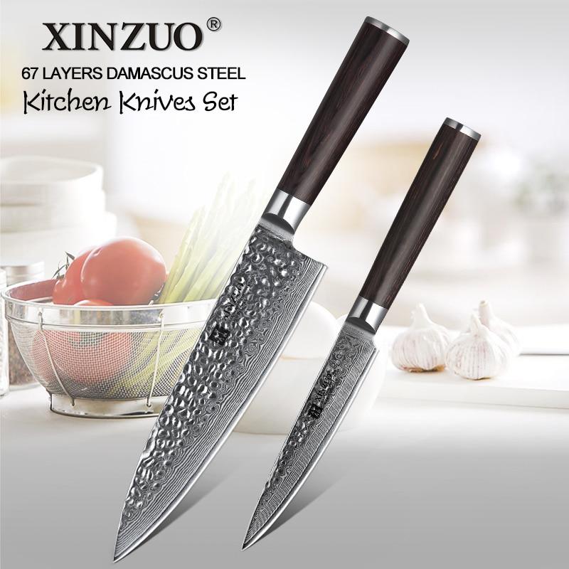 XINZUO 2 قطعة سكاكين المطبخ مجموعة المطبخ دمشق شارب مجموعة أدوات المائدة اليابانية VG10 النواة المساعدة الشيف السكاكين مع Pakka الخشب مقبض-في أطقم سكاكين من المنزل والحديقة على  مجموعة 1