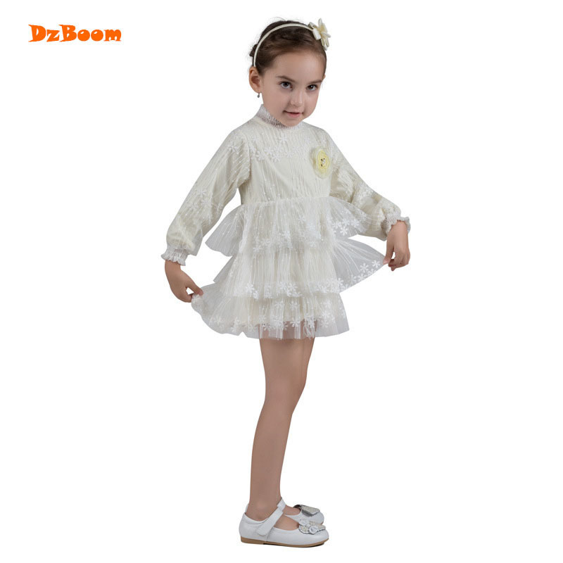 DzBoom White Lace Princess Vestidos Girls Wedding Dress Autumn 2017 Fashion Cute Long Sleeve Kids Baby Girl Party Dresses цена