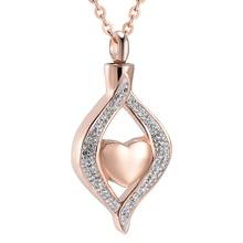 IJD9240 из нержавеющей стали кристалл каплевидное сердце кулон кремационной урны мемори ожерелье для женщин держатель пепла Сувенирные ювелирные изделия