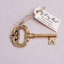 FREE SHIPPING ++Elegant Wedding AccessoriesKey to My Heart Antique Wine Bottle Openers Bridal Favor+100sets/LOT