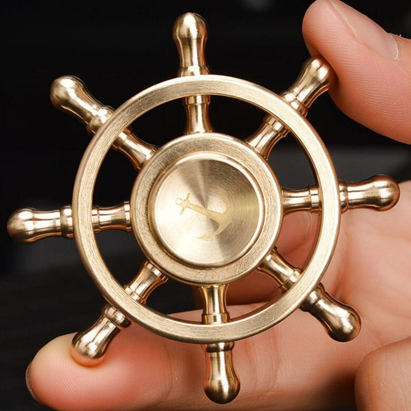 Hand Fidget Spinner Rudder Brass Finger Focus Anti Stress Adult Gifts Toy For Adults Stress Relief