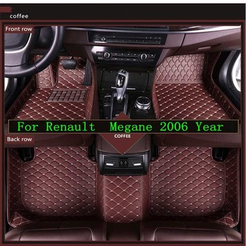 New 3D Leather Car Floor Mats For Renault  Megane 2006   Custom Auto Foot Pad Automobile Carpet Cover Waterproof Mat