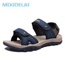 MIXIDELAI/высококачественные летние мужские сандалии; кожаная мягкая удобная мужская обувь без спилка; Новая модная мужская повседневная обувь; размеры 39-46