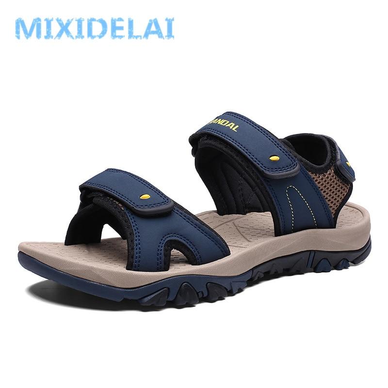 MIXIDELAI High Quality Summer Men Sandals Leather NonSplit Soft Comfortable Men Shoes New Fashion Men Casual Shoes Size 39~46