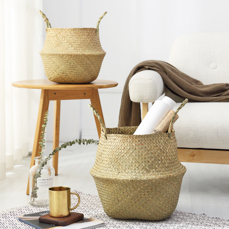Household Foldable Natural Seagrass Woven Storage Baskets Garden Flower Vase Hanging Basket With Handle Storage Bellied Basket