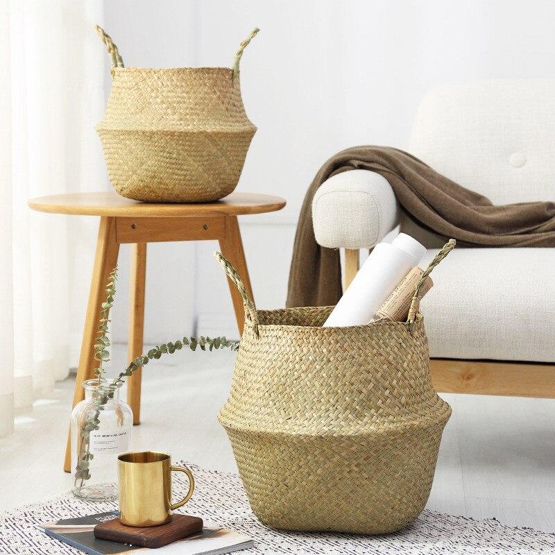 Ménage pliable naturel jonc de mer tissé paniers de rangement jardin fleur Vase suspendu panier avec poignée stockage ventre panier