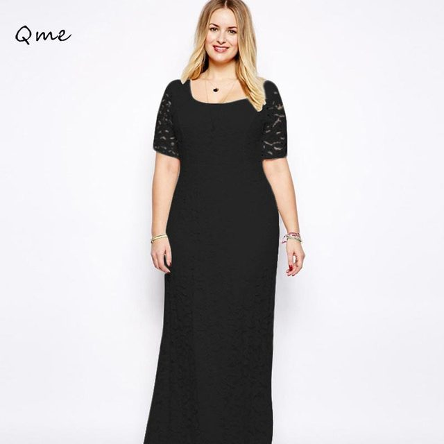 a6b3f9d4d89 Femmes dentelle robe plus grandes tailles maxi robe noir et blanc robe  longue femme XXXXXL 5XL