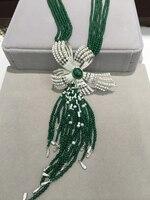 Зеленый Натуральный камень ожерелье нескольких слоев полудрагоценный камень бантом с натуральным свежим Wate Перл кисти ожерелье