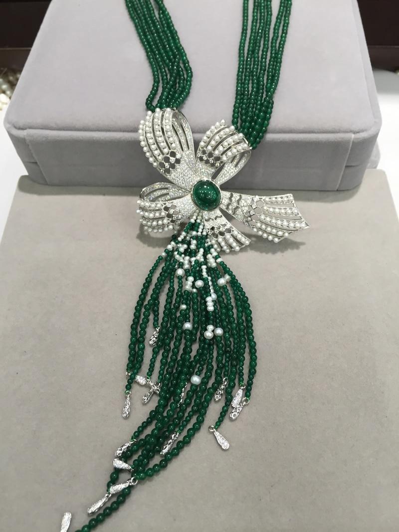 Зеленый натуральный камень многослойное ожерелье полудрагоценный камень бант с натуральным свежим жемчугом ожерелье с подвеской кисточко