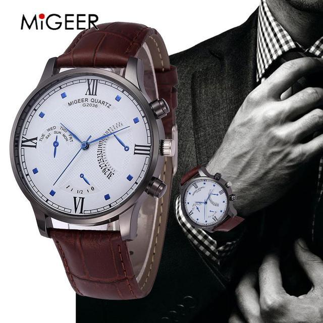 c267941d170 MIGEER Men Quartz Watches Top Brand Luxury Military Sports Wristwatch  Leather Strap Male Clock relogio masculino erkek kol saati