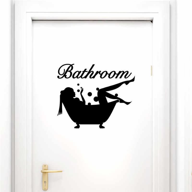 Komik Tuvalet Giriş Işareti Banyo Kabarcık Etiket Dükkanı Ofis Ev Cafe Otel kadın duş dekor