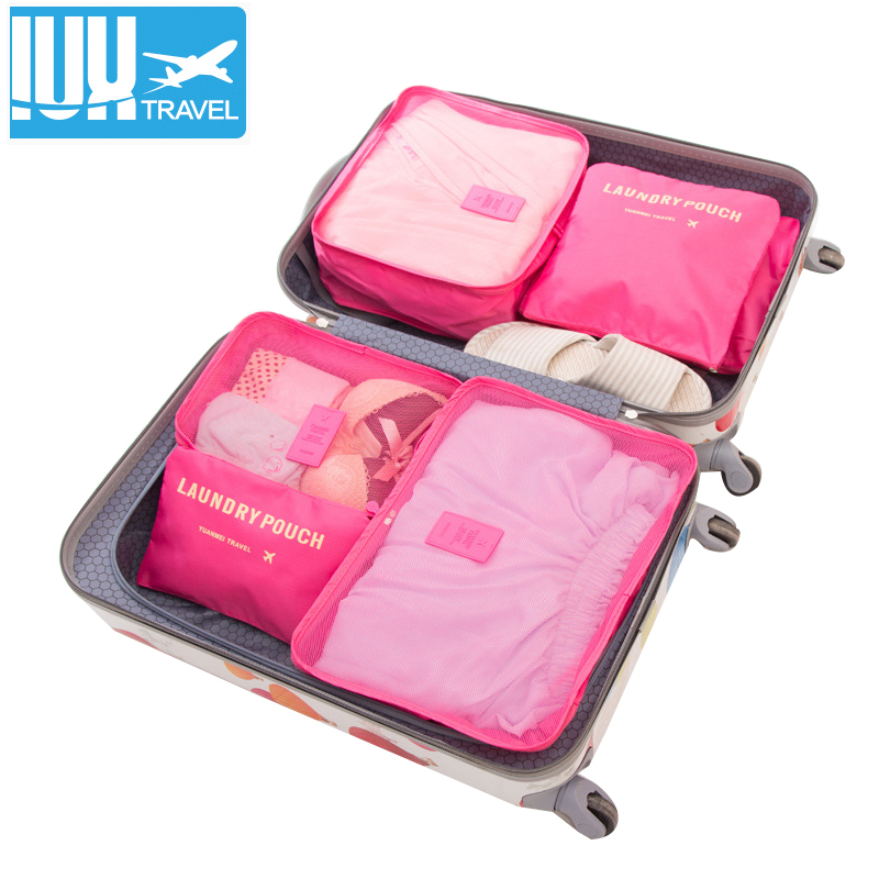 18 6PCS/Set Women Luggage Travel Bag  High Quality Double Zipper Waterproof Polyester Organizer Packing Bag Cube Bags Wholesale