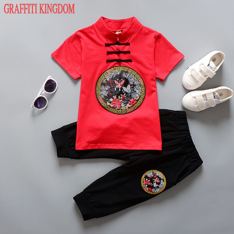 2 Pcs Chinese style girls and boys short sleeved t shirt + shorts New Arrival summer 2017 children Clothes Sets Casual clothing european and american style brand children s clothing children summer cotton short sleeved t shirt baby girls t shirt 50158
