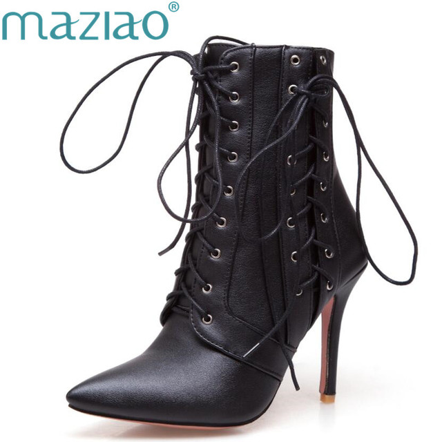 Women Winter Red Boots High Heel Boots Lace Up Mid-Calf Boots 2017 Pointed  Toe Autumn Shoes White Black Big Size 11 46 MAZIAO d4d0171964