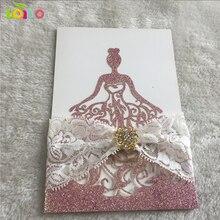 10 шт., лазерная резка, блестящая бумага, пригласительные открытки принцессы на день рождения, свадебные пригласительные открытки для девочек, блестящая фиолетовая блестящая открытка