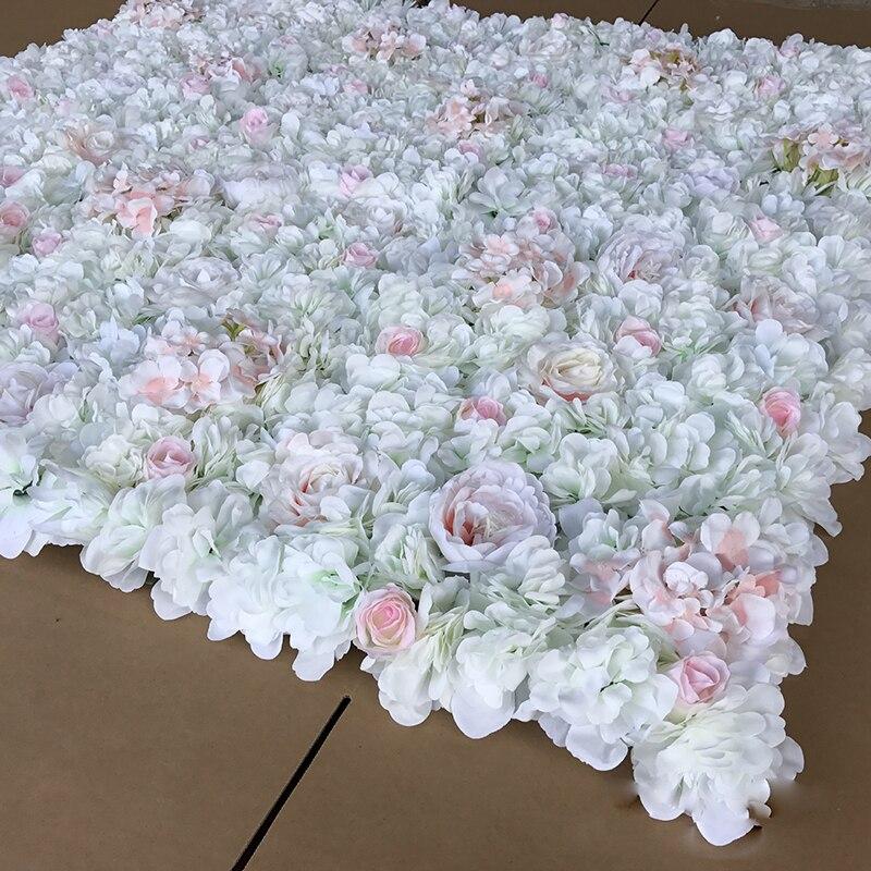 6 pcs Artificielle Blanc Rose Hortensia Pivoine 3D Fleur Mur Toile De Fond De Mariage Pelouse/pilier Fleur Route de la Ligne De Plomb 40*60 cm