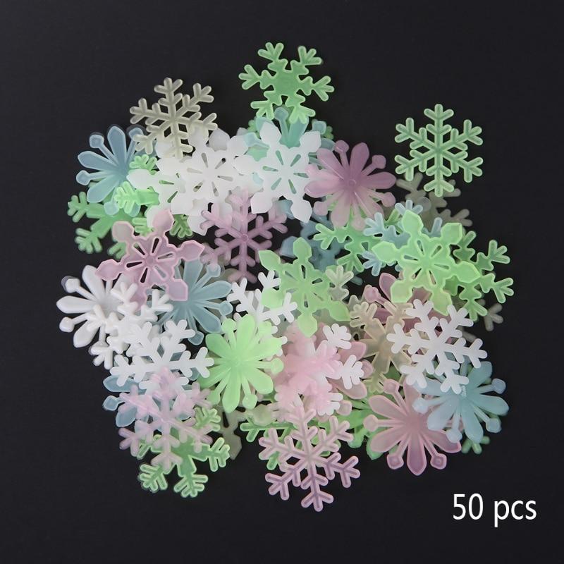 50Pcs 3D Luminous Snowflake Glow In The Dark Light Home Garden Fluorescent Decal