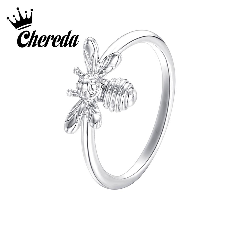 Chereda Antique Bee Wedding Rings for Women Cute Animal Engagement Ring Christmas Gifts bijouterie