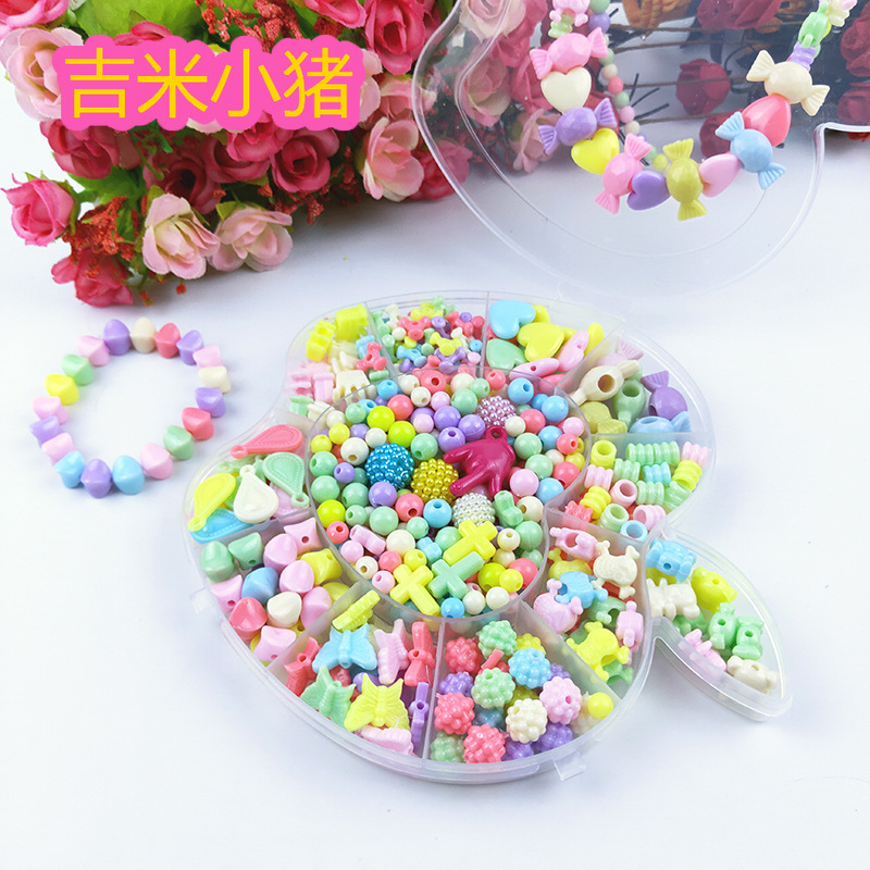300pcs Diy Beads For Children Handmade Round Square Colorful Macaroon Acrylic Bead For DIY Girl Bracelet Necklace Kids New Gift