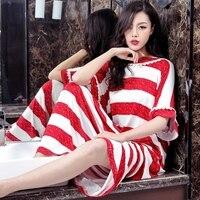 Women's Nightgown Plus Size modal Cotton Sleepwear Dress Long Nightwear Nightshirt Striped loose Nightdress Pink Blue 2xl 5xl