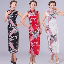 New Fashionable Qipao National Trend Chinese Style Faux Silk Dress Long Cheongsam Qipao  Evening Dress