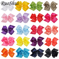6 Inch 20Pcs Large Double Layers Grosgrain Ribbon Hairbow Baby Girls Hair Bows Clips