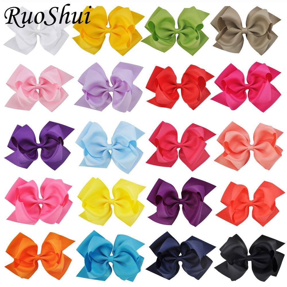 20Pcs 6 Inch Double Layers Grosgrain Ribbon Girls Hair bows s