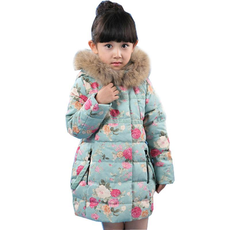 ФОТО 2017 new arrival winter kids Girl cotton jacket thicken girls floral coats hooded winter jacket for girls