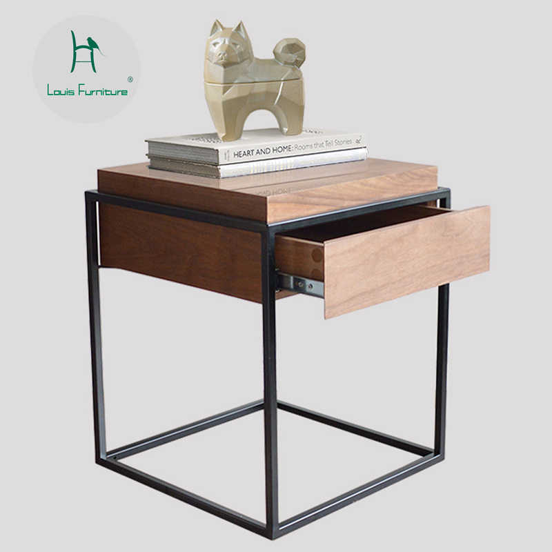 Louis Fashion Nightstands Home Walnut Square  Low Side Several Corners Nordic Simple Wind Bedside Cabinet Model Apartment