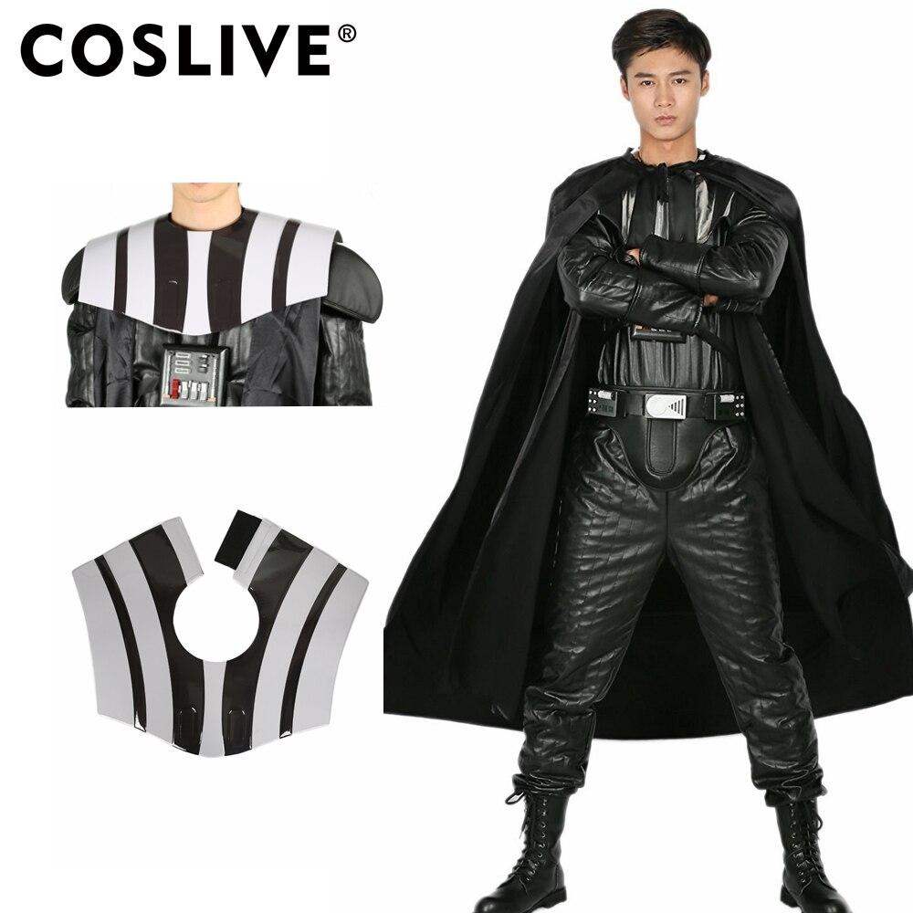 Coslive Star Wars Dark Vador Tout Noir Une pièce Vêtement PU Cuir Costume pour Halloween Cosplay Fête Spectacle