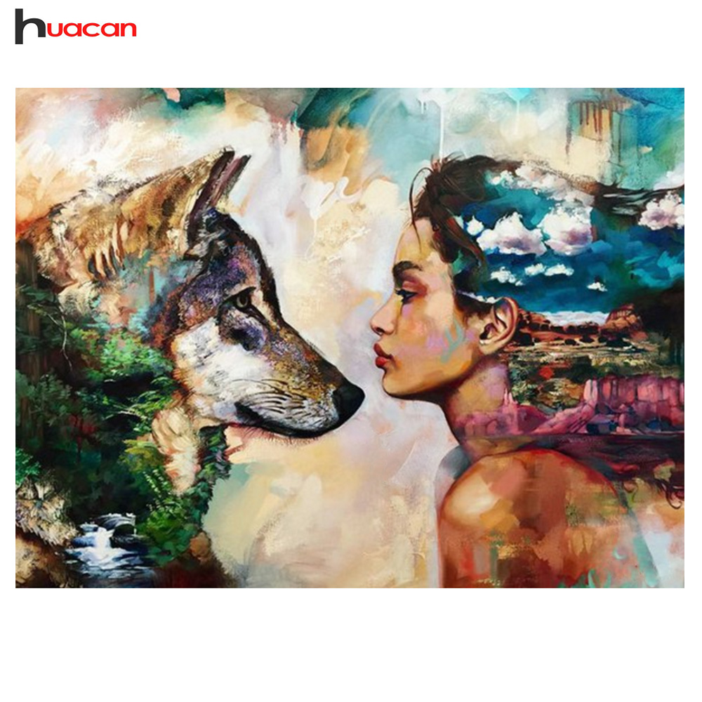 Huacan Diamond Painting Full Square Wolf with Beauty Cross Stitch Drill 5D Diy Diamond Embroidery Home Decorating Children Gift