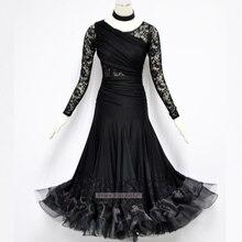 Ballroom Waltz Dance Dresses For Women Elegant Long Sleeve Lace Modern Waltz Tango Flamenco Dancing Costume