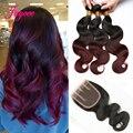 Малазийский Объемная волна с закрытием Бордовый ломбер малайзии пучки волос 1b99j rosa продукты волос, волосы пучки с кружевными закрытия