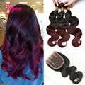 Onda Do Corpo malaio com fecho de Borgonha 1b99j ombre malásia cabelo bundles rosa produtos para o cabelo, feixes de cabelo com fechos de renda